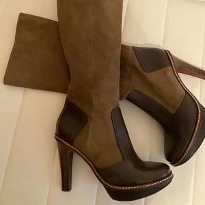 BCBG Brown Tan Leather Suede Heeded Boots 8.5